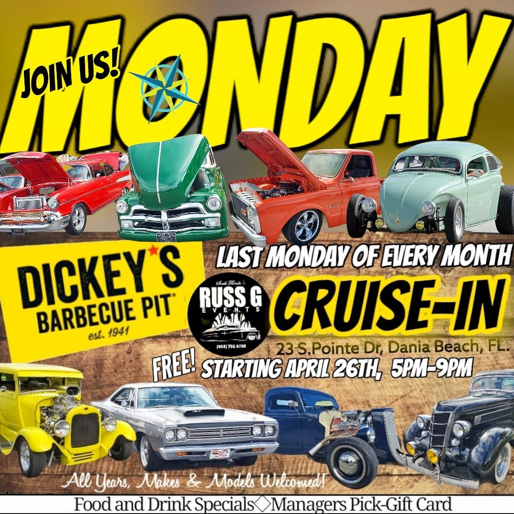 Monday Might Cruise In at Dickey's Barbecue Pit