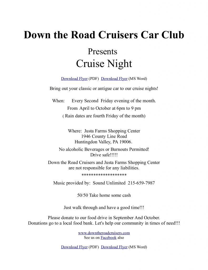 Down The Road Cruisers Cruise Nights 2021