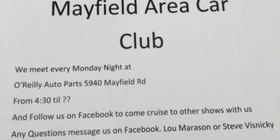 Mayfield Area Car Club Monday Night Meet