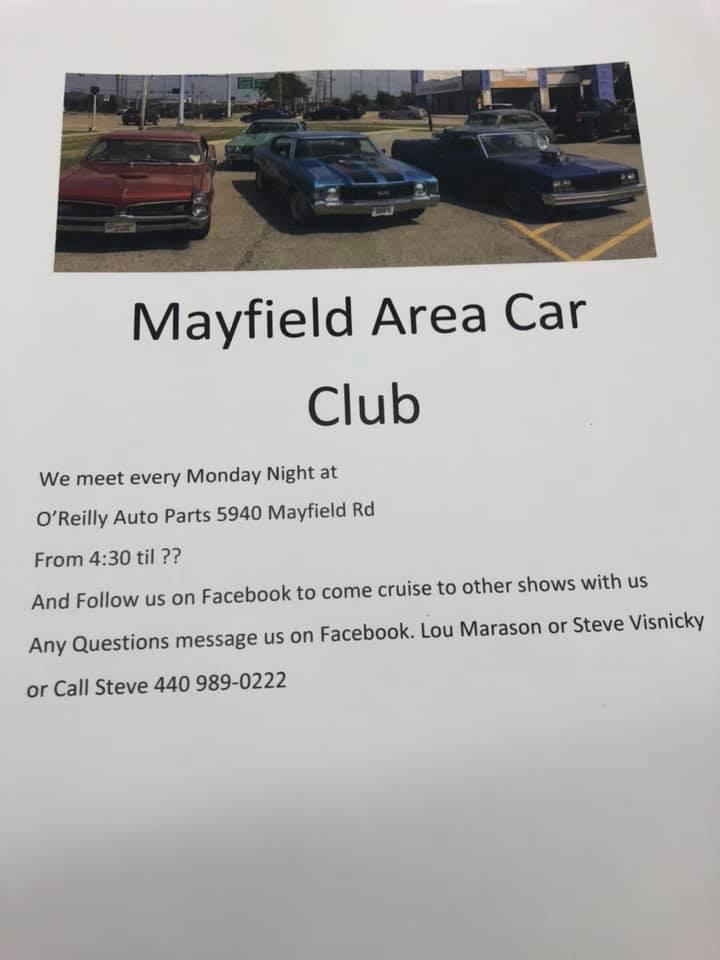 Mayfield Area Car Club Monday Night Meet