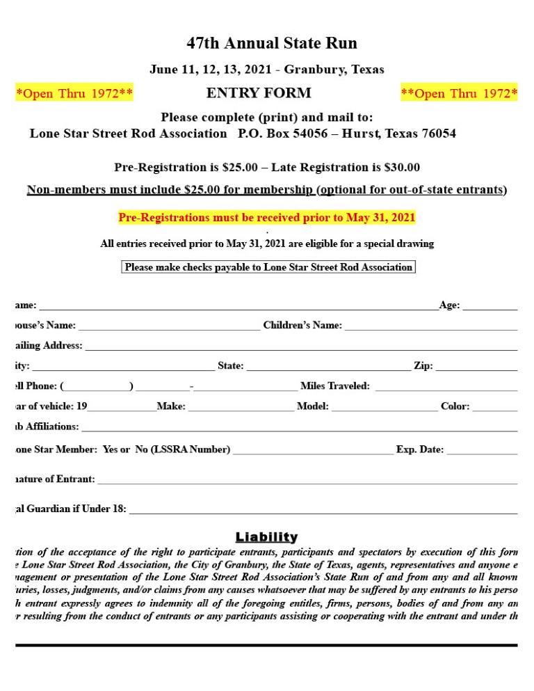 Lone Star Street Rod Association State Run