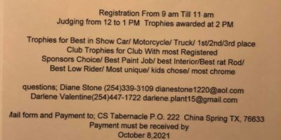 China Spring Tabernacle And Community Center 6 Th Annual Saturday Car Truck & Motor cycle Show